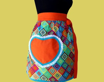 Apron -  women's half apron 1960 1970 disco funk apron READY TO SHIP