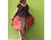 Women Maxi Dress Gypsy Dress Rayon Dress Boho Dress Hobo Dress Hippie Dress Summer Beach Dress Tie Dye Dress Comfy Dress Brown (D 8)