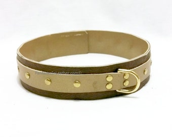 SALE Brown and Gold Leather Collar BDSM Slave Kink (COL 107)