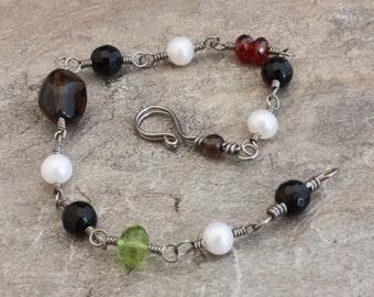 Natural Niobium bracelet, Black Onyx freshwater pearl gemstone hypo allergenic