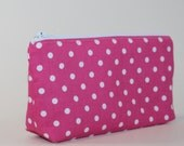 Compact Divided Cosmetic Bag - 2 Compartments - Pink Polka Dots