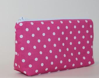 Compact Divided Cosmetic Bag - 2 Compartments - Pink Polka Dots