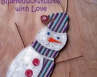 ON SaLE, UpCycled Art, RePurposed ReClaimed Cardboard, SNOWMAN ornament, Christmas Tree, Hand Painted, Holiday Decoration, Folk Art, Ornie