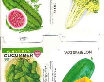 21 Vintage FLOWER / VEGETABLE Unfolded Vegetable Seed Packs