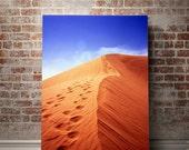 Colorful Sand Dunes Photography, Inspirational Wall Art, FILM Photography, California Desert Photography, Sky Blue, Office Decor