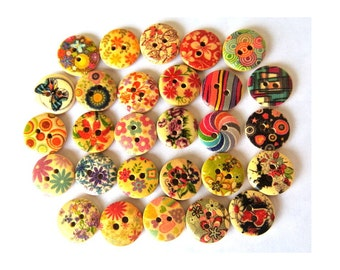 28 Buttons, 28 kinds, wood, wooden, assorted pictures, 15mm, proper for button jewelry