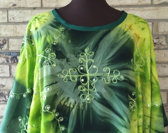 Plus Size Lightweight Sequined Tie Dye Tunic