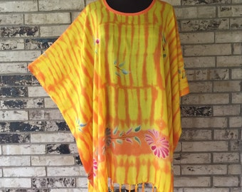 Plus Size Hand Painted Rayon Tunic