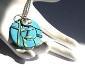 Turquoise Blue Asian Oriental Style Polymer Clay Pendant Necklace