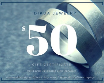 50 USD Gift Certificate for Dikua Jewelry