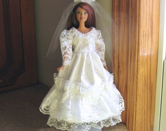 Barbie Wedding Dress White Eyelet and Lace with Heart Beads