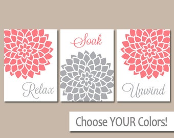 Coral Gray Bathroom Wall Art Canvas Or Print Bathroom Artwork Relax Soak Unwind