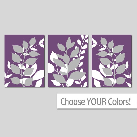 Purple gray wall art bedroom pictures leaves canvas or for Purple wall art