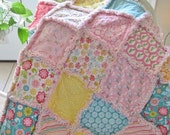 FlASH SALE Baby Rag Quilt - Quilted Baby Blanket, Nursery Bedding, Crib Size - Letters, Flowers, Bicylces, Turtles, Dots, Stripes - Pink, Aq