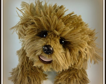 Cappuccino - Stuffed Animal, Shaggy Dog, OOAK, Handmade, Shaggy, All Fours