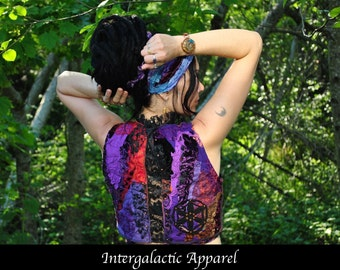 SALE Sacred Geometry Vest, Festival Clothing, Seed of Life, Hippie Clothes, Eco Gypsy Apparel, Sleeveless Wrap Top