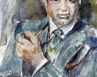 Cary Grant Young Gentlemen with Pipe Original Watercolor