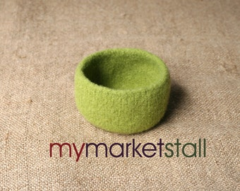 Felted Bowl in Granny Smith Apple Green - Ready to Ship