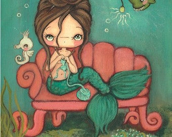 Mermaid Painting Print Nautical Art Girl Seahorse Children Original Wall Art Decor---The Knitting Mermaid 9 x 12