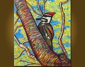 Pileated Woodpecker -- 20 x 24 inch Original Oil Painting by Elizabeth Graf -- Art Painting, Art & Collectibles