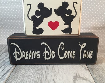 Mickey Mouse Happily Ever After dreams do come true family wedding wood sign blocks primitive country rustic home decor