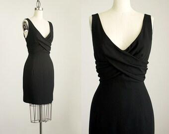 90s Vintage Nicole Miller Black Wrap Draped Bodice Mini Cocktail Dress / Size Medium