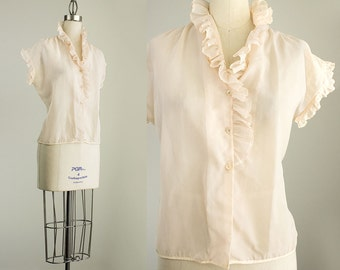 60s Vintage Light Pink Sheer Organza Ruffle Collar Blouse / Size Medium