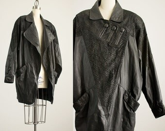 90s Vintage Black Leather Batwing Leopard Print Tapered Coat / Size Medium / Large