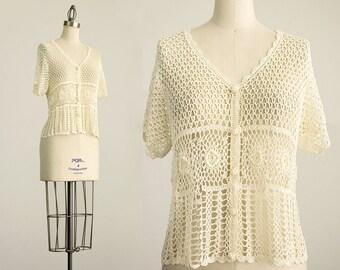90s Vintage Cream Pointelle Floral Crochet Lace Knit Blouse / Size Small