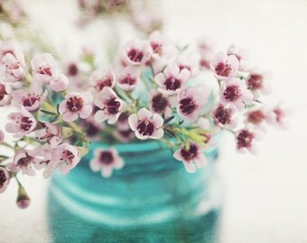 "Rustic still life flower photography vintage aqua blue jar nature print floral wall art pink flowers ""Wax Flowers"""