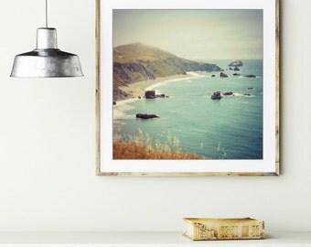 "Ocean art print - beach landscape - California coast - rocky sea shore - ocean decor - aqua and brown print 8x8 ""Mountains Meet the Sea"""