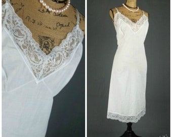 vintage full slip volup 52 3X XXXL white sheer cotton blend velrose frilly lace lingerie flirty sexy pinup bombshell pin up