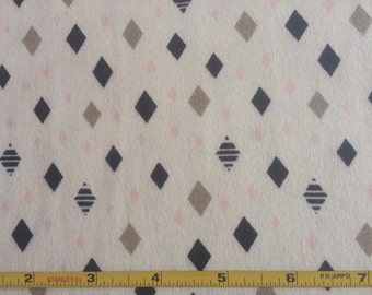 "NEW Cloud 9 Navy, Pink and Silver Diamonds on Organic Cotton Interlock 48"" wide per yard"