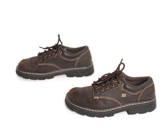 size 8.5 SKECHERS brown leather 80s 90s GRUNGE chunky PLATFORM hiking lace up ankle boots