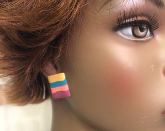 Vintage 80's party jewelry abstract artsy earrings