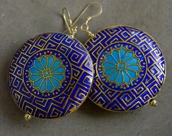 Moroccan Cloisonné Earrings in Blue
