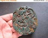 ON SALE 25% OFF Chinese  Old Jade Chinese Round Carved Amulet