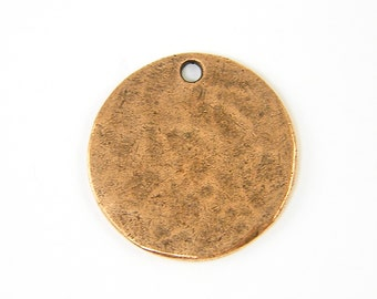 Copper Stamping Blank Antique Copper Round Circle Tag Textured Hammered Disc Pendant Charm |NU3-4| XN