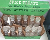 Vintage Set of Glass Spice Jars with Box