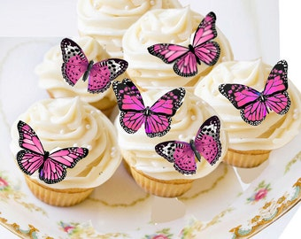 Edible Butterflies, Edible Butterfly Pink, Small Wafer Cake Decorations, 20 cupcake toppers,cookie toppers,birthday,cake decoration,party