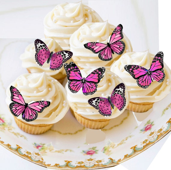 Butterfly Wafers Cake Decoration : Edible Butterflies, Edible Butterfly Pink, Small Wafer ...