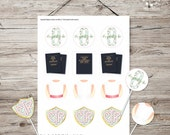 INSTANT DOWNLOAD - LDS Baptism Decoration - Cupcake Toppers or Stickers - I Know the Scriptures are True - Mint Rose Trellis Set