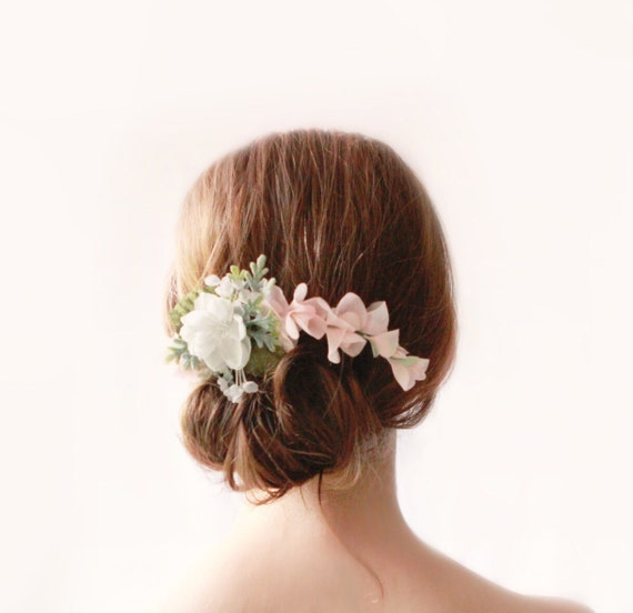 Pink and white flower clip, Floral bridal clip, Pastel wedding hair accessory, Updo side bun back clip