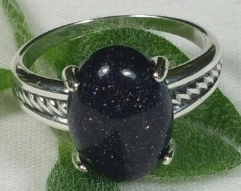 Blue Sandstone Ring, Celestial Stars Ring, Sterling Silver Ring, US Size 8 Ring, Night Sky Ring by Maggie McMane Designs
