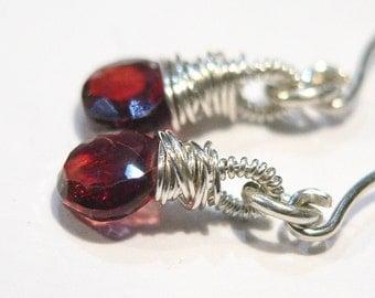 Garnet Earrings, Sterling Silver, January Birthstone, Faceted Garnet Heart Earrings