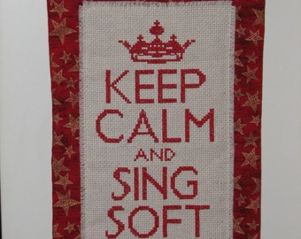 Keep Calm and Sing Soft Kitty counted cross stitch mini quilt wall hanging FREE SHIPPING