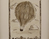 Hot Air Balloon Art Hand Painted Linocut Sepia Painting Vintage Inspired Travel Art 1st Anniversary Gift Watercolor Painting Unframed Art