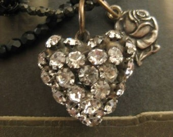 RESERVED ~ Bridget ~ antique rosary rhinestone heart wrap necklaces