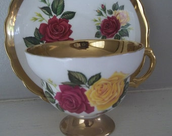 Rosina Bone China Cup & Saucer, Gold Rim, Yellow Roses, Red Roses, Tea Cup Made in England