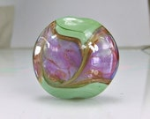 Lampwork Focal Bead  Green Pink Purple Goldstone